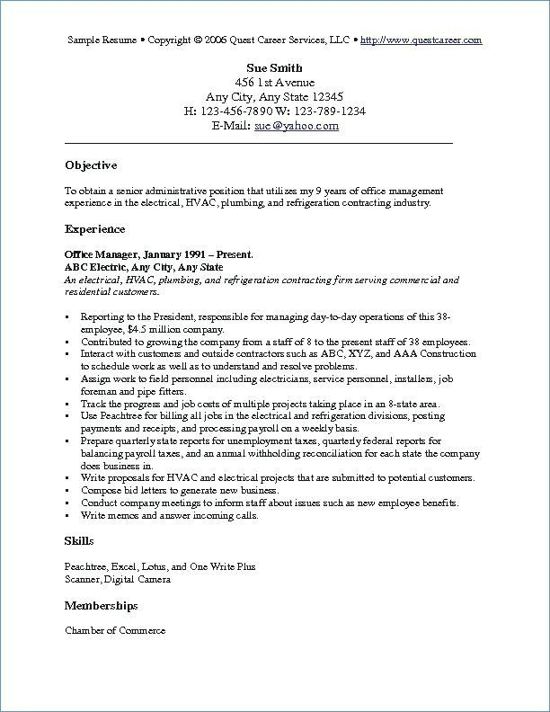 A Resume Objective Examples Resume Examples Pinterest Resume - Simple Format For Resume