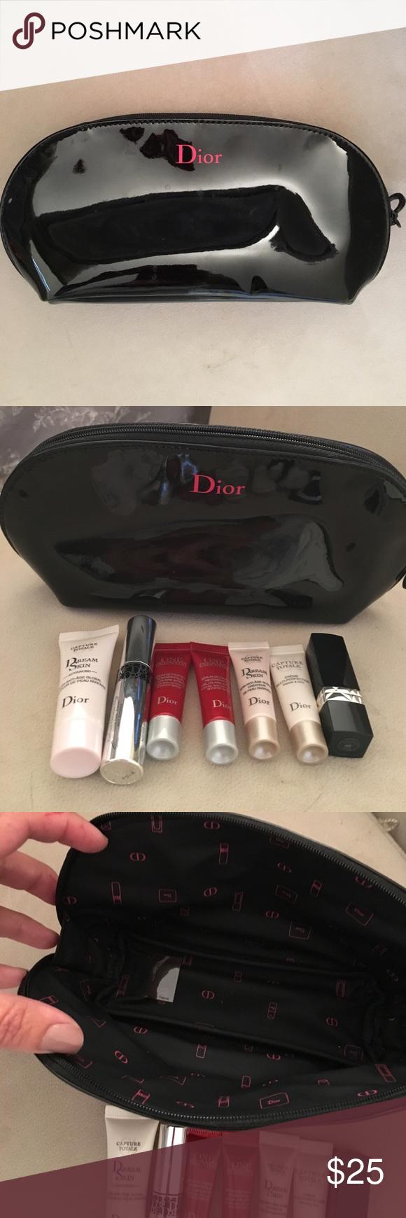 NWOT Authentic Christian Dior makeup bag & samples NWOT