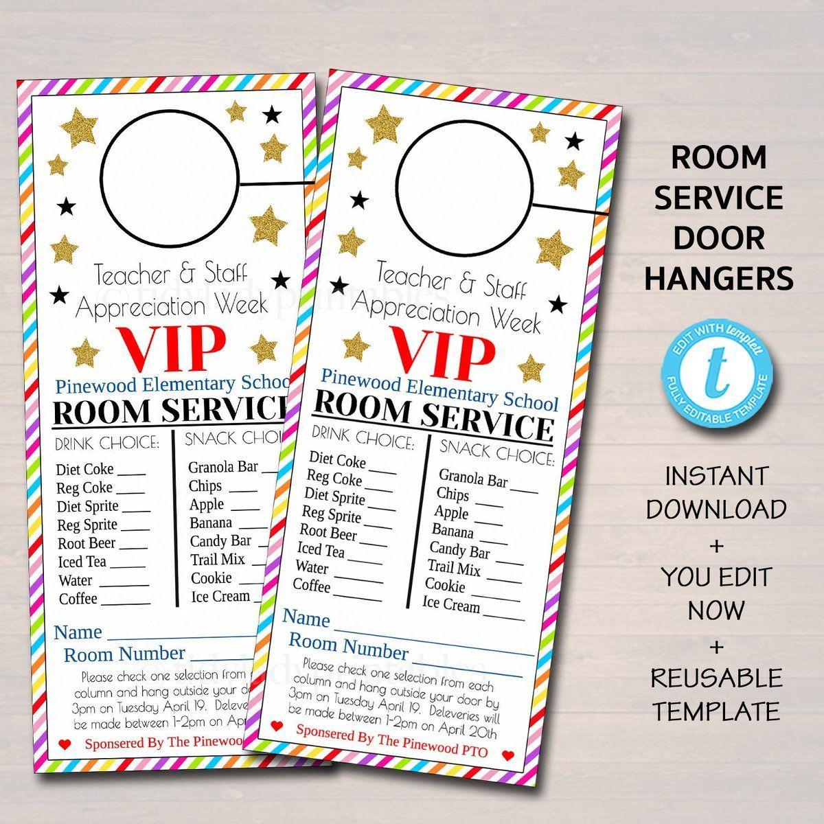 EDITABLE Room Service Door Hanger, INSTANT DOWNLOAD, Teacher and Staff Appreciation Ideas, Printable Editable Thank You Tags, School Pto Pta #employeeappreciationideas