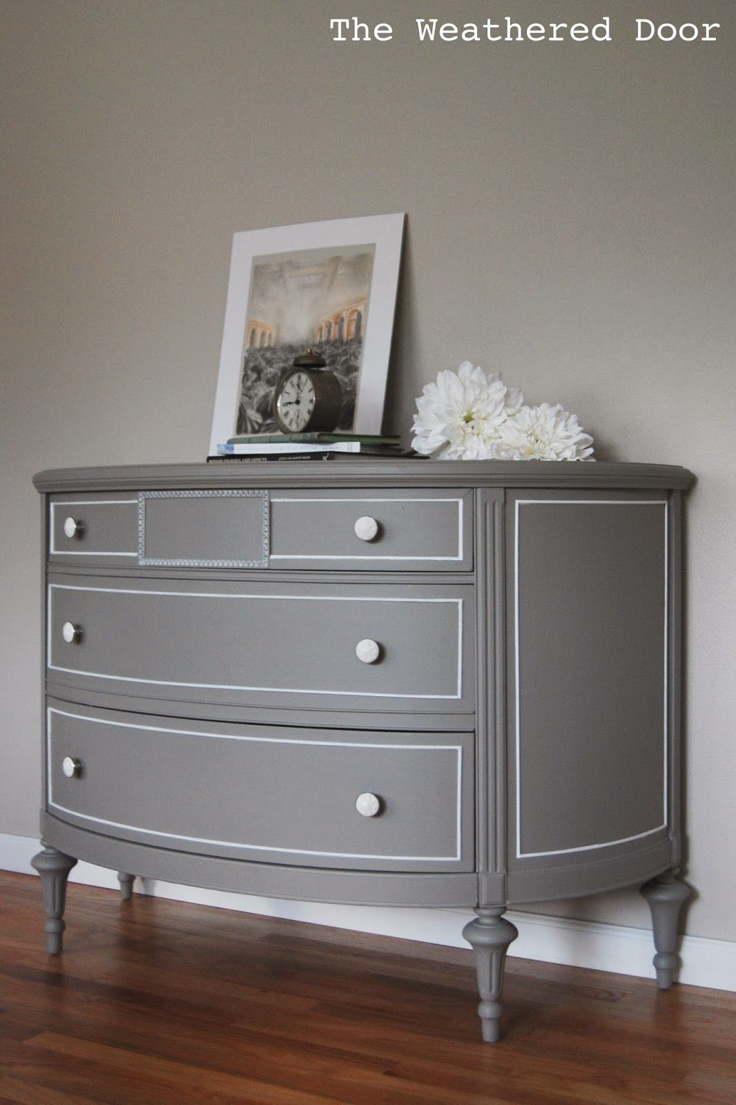 A Demilune Dresser Goes Gray Gray painted furniture
