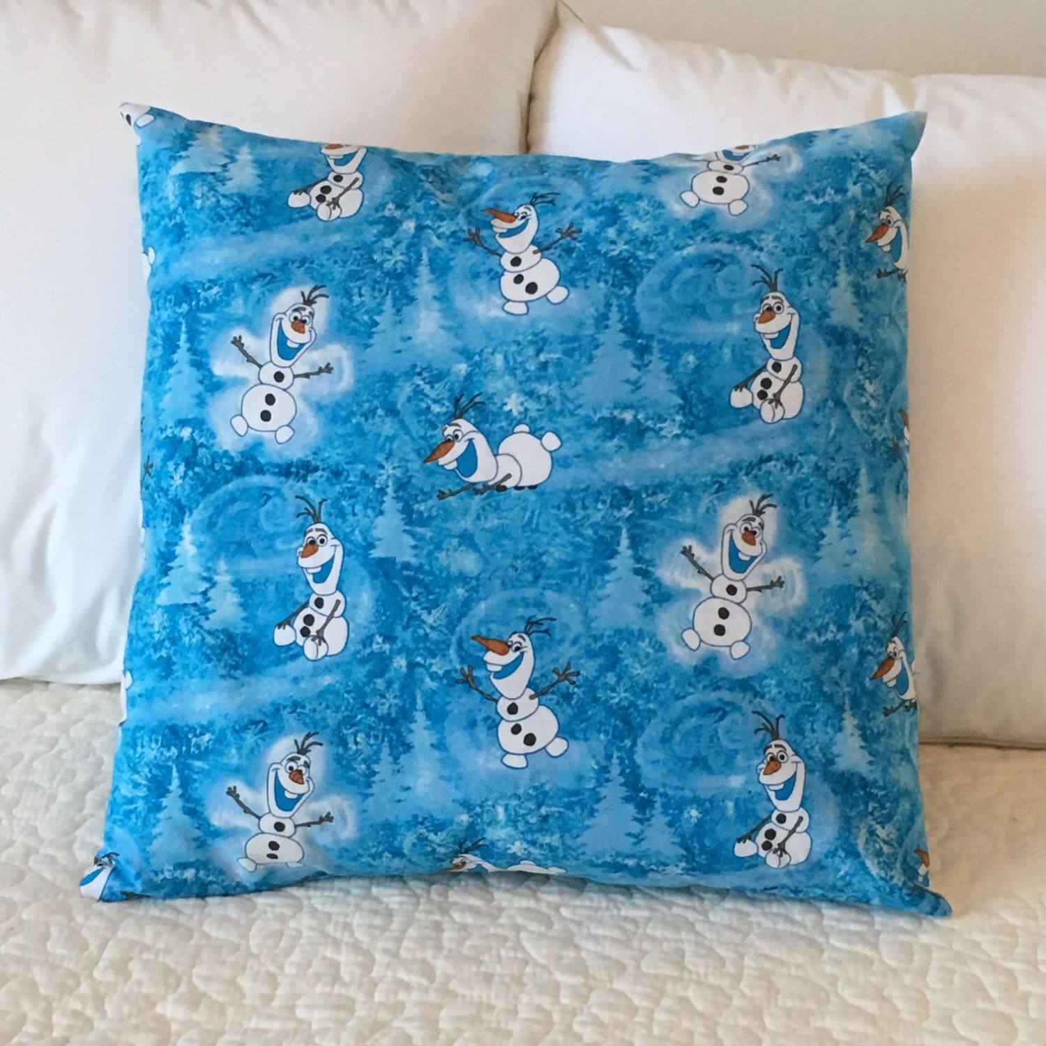 Olaf Pillow Cover - Frozen Pillow - Swappillow Covers - Holiday Gift - Envelope Closure - Decorative Pillow Cover - 16x16 - Snowman - Blue by KathyRyanDesigns on Etsy