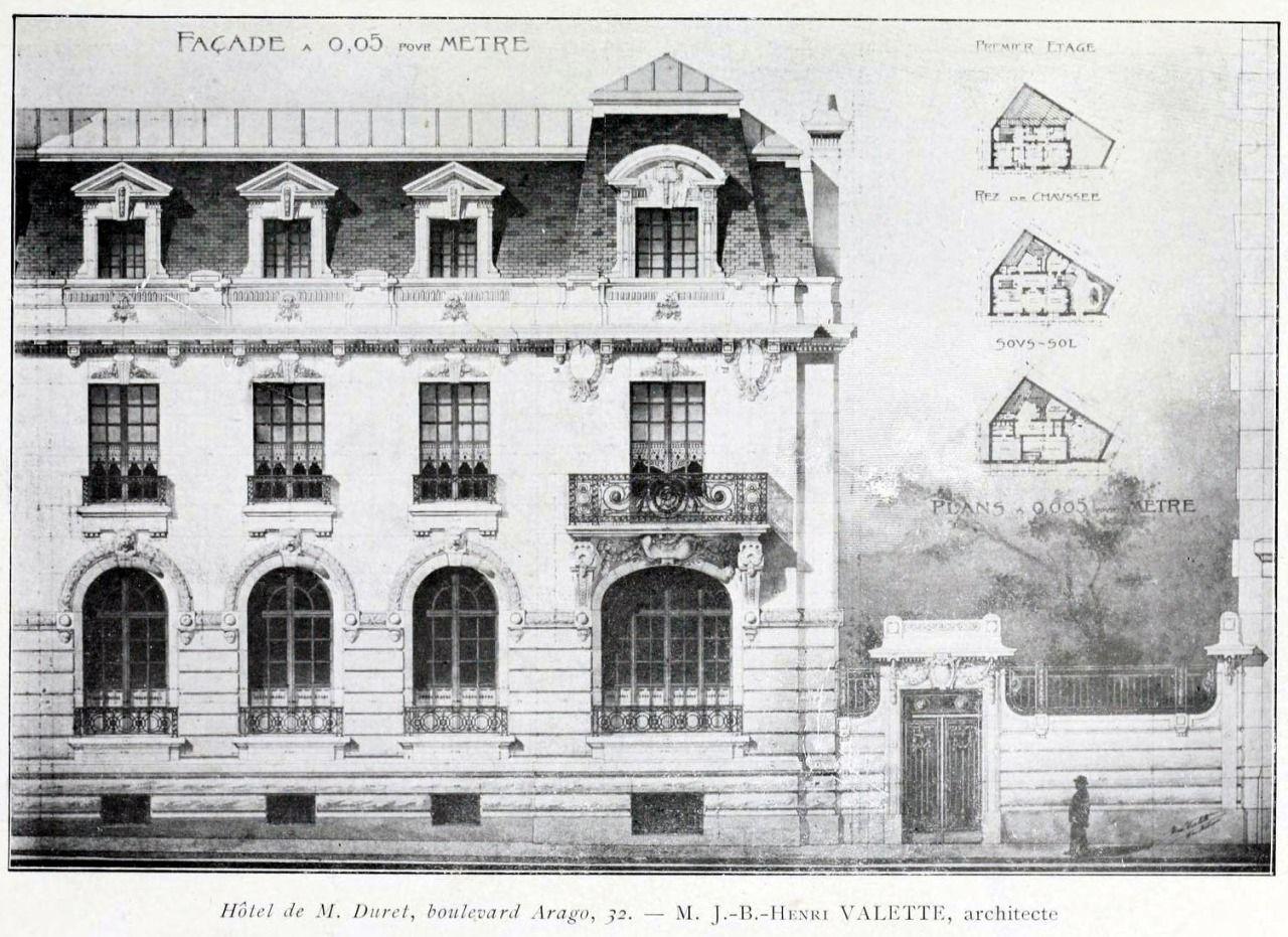 Elevation of the Hôtel for M. Duret on Boulevard Arago, Paris