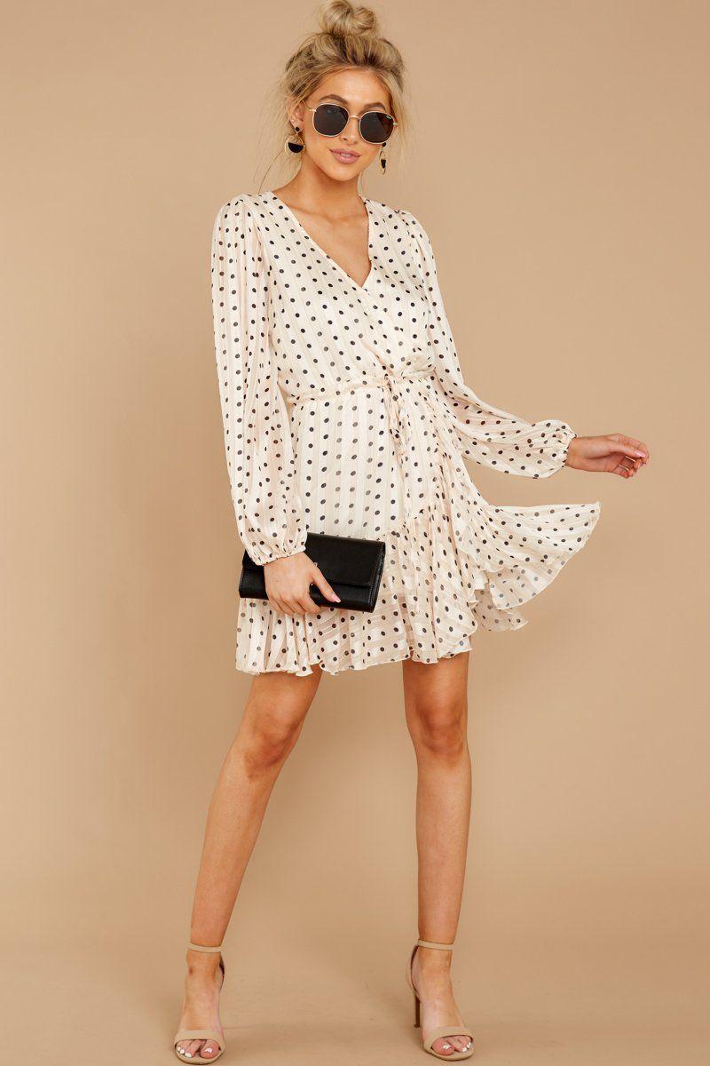14++ Beige and white polka dot dress trends