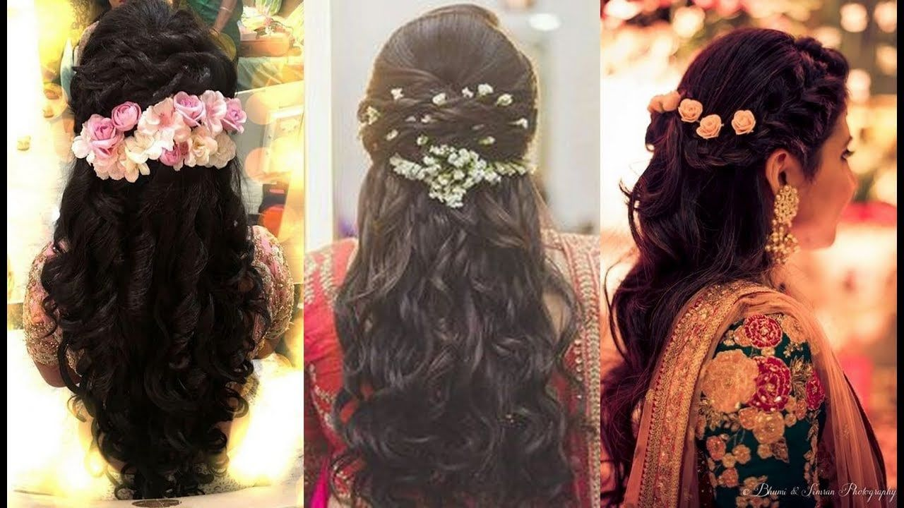 Hairstyles For Indian Wedding Dinner In 2020 Wedding Reception Hairstyles Bridal Hairstyle For Reception Indian Bride Hairstyle