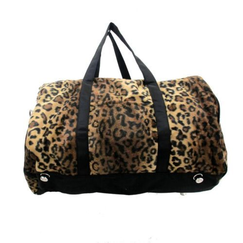 Brown Leopard Duffle Bag Faux Fur Large Travel Luggage Carryall Tote New | eBay
