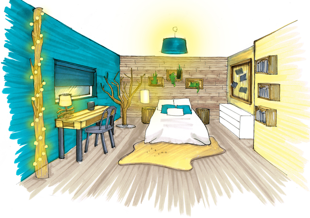Dessin design int rieur architecture perspective ozladeco for Chambre en perspective