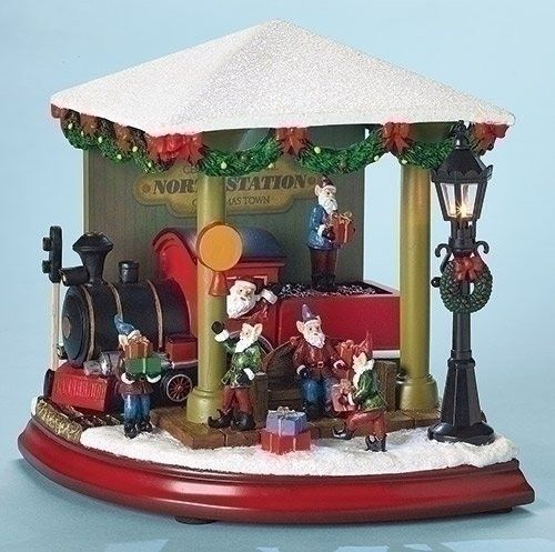 Santas Train Station Revolving Musical Light Up Christmas Amusements