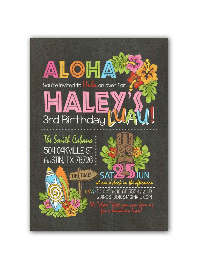 Chalkboard luau with surfboard birthday party invitation   Luau ...