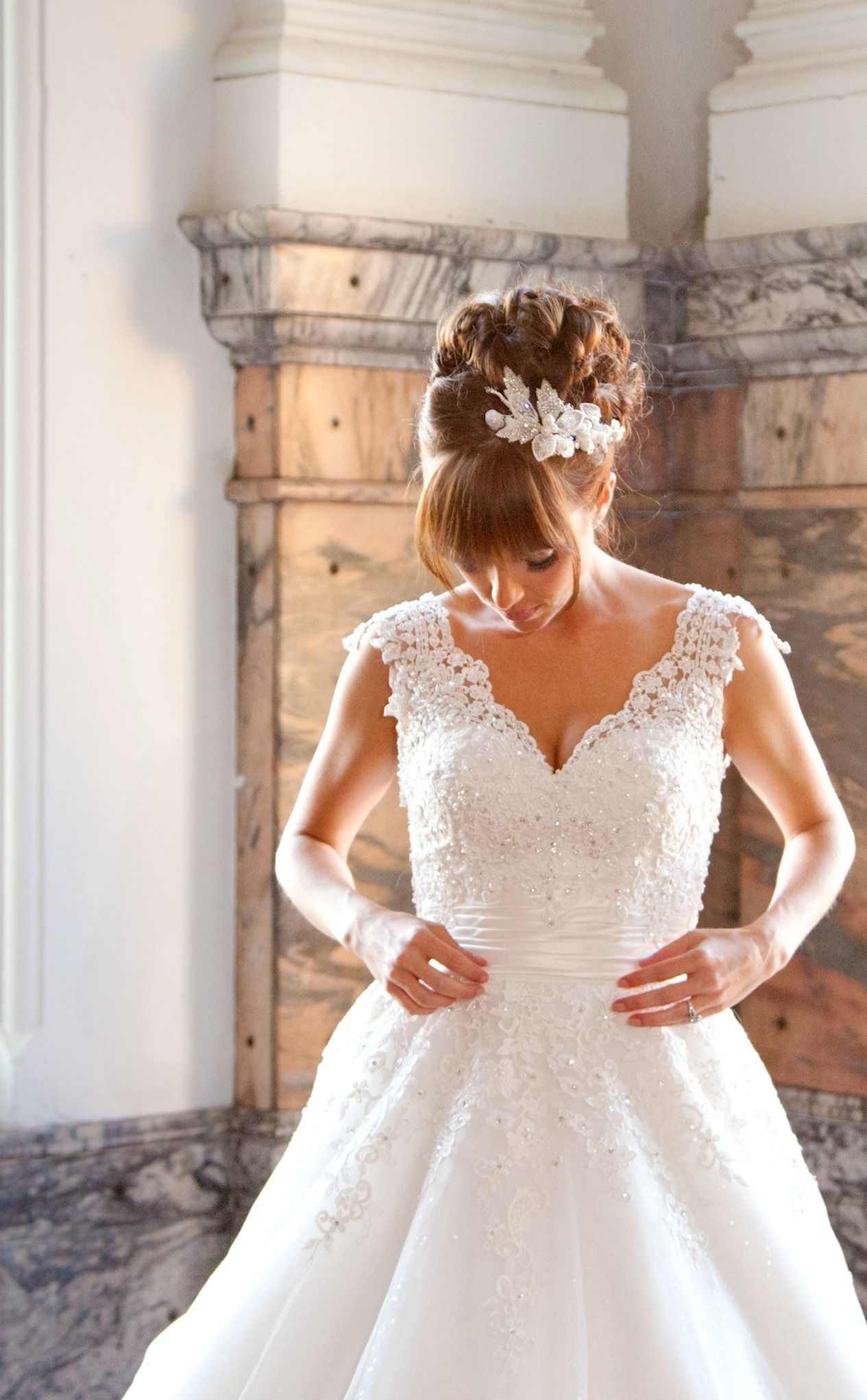 updo with bangs + no veil | wedding bells | casual wedding
