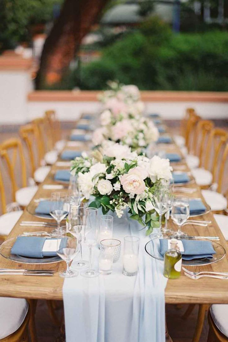 Photo of Ice Blue Silk Table Runner