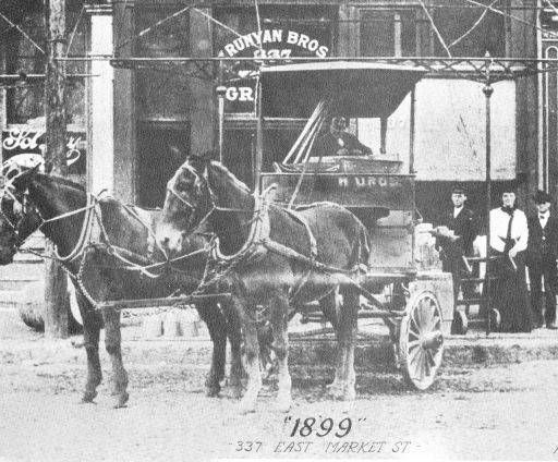 Runyan Brothers Grocery,337 East Market St., next door C. Schilbt & Sons, Undertakers, Louisville, Kentucky, 1899.