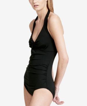693ef8ab4e Calvin Klein Twist Halter One-Piece Tummy-Control Swimsuit - Black ...