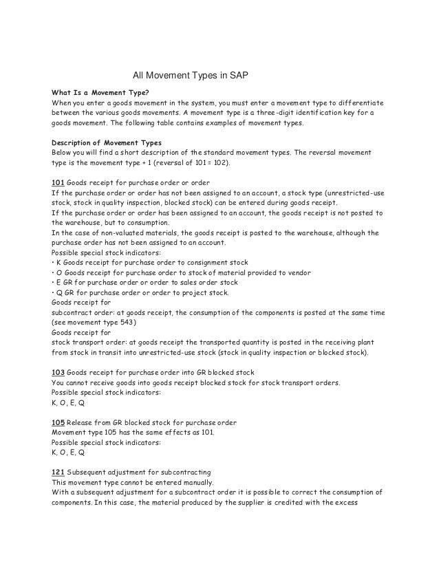sap movement type table