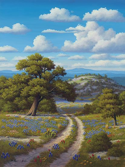 R W Hedge Bluebonnet Trail Texas Hill Country Bluebonnets Landscape Art Landscape Landscape Paintings