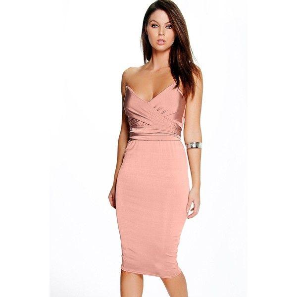 0af7c87c6b Boohoo Night Skye Slinky Wrap Detail Midi Bodycon Dress ( 35) ❤ liked on Polyvore  featuring dresses