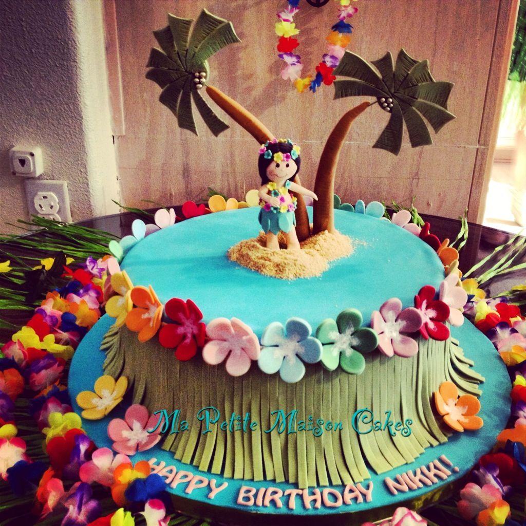 Aloha Hawaiian Girls Birthday Cake With Palm Trees Our Cake