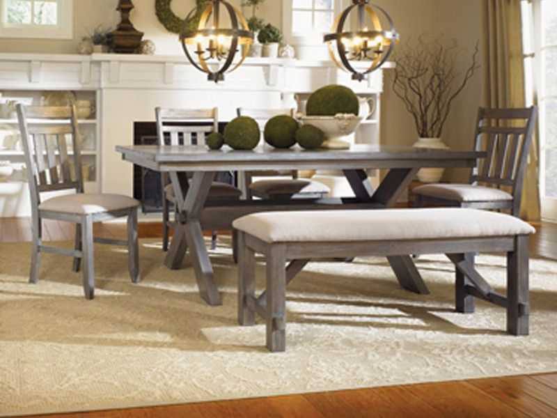 Grey Table 4 Chairs And Bench At Cardis Furniture