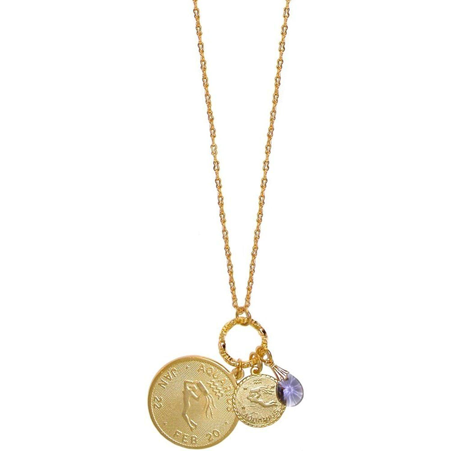Mystical Sun Sign Horoscope Zodiac Pendants Necklace with Swarovski