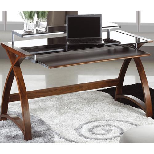 Black Glass Desk PC201 Curve Walnut Veneer Furniture