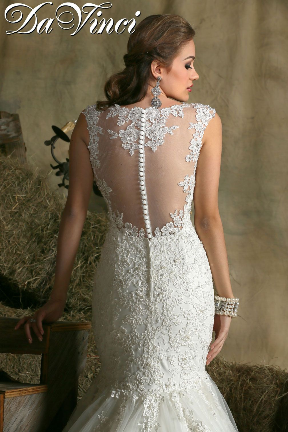 Davinci style is a lace and tulle mermaid wedding dress with