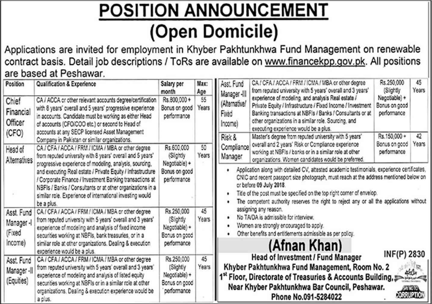 Latest Jobs In Kpk Position Announcement Open Domicile