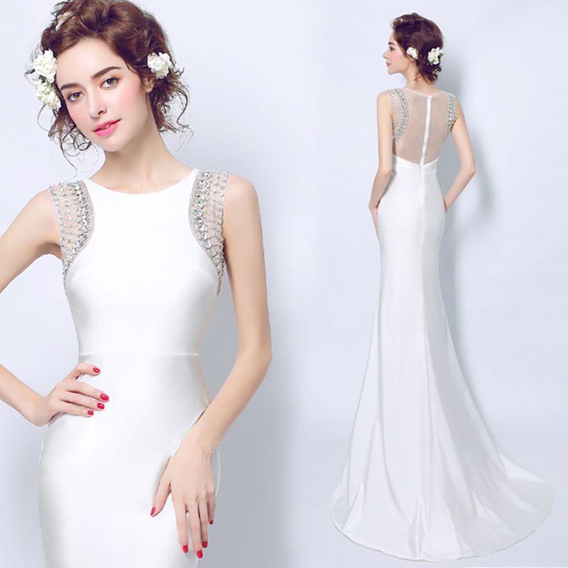 Click to Buy << Elegant Crystal White Evening Dress Long Beads Satin ...