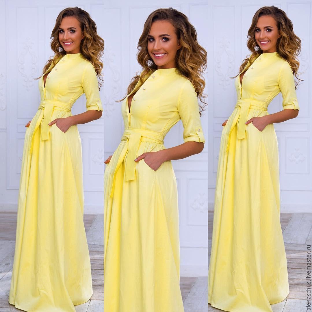 Купить Платье сарафан из хлопка желтый однотонный платье летнее