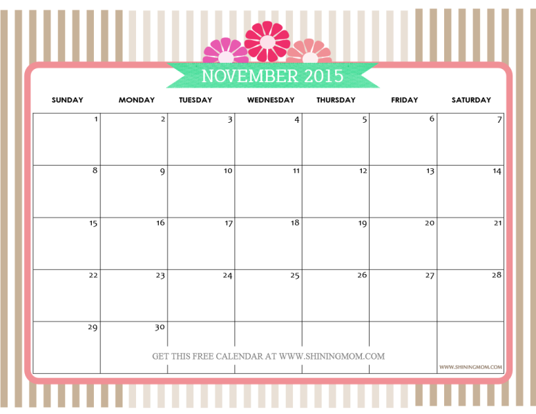 November 2015 Calendars | Blank calendar template, November and ...