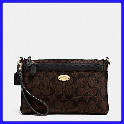 8e1cafa1 Coach Signature PVC Pop Pouch Wristlet (Brown/Black) F52619 ...