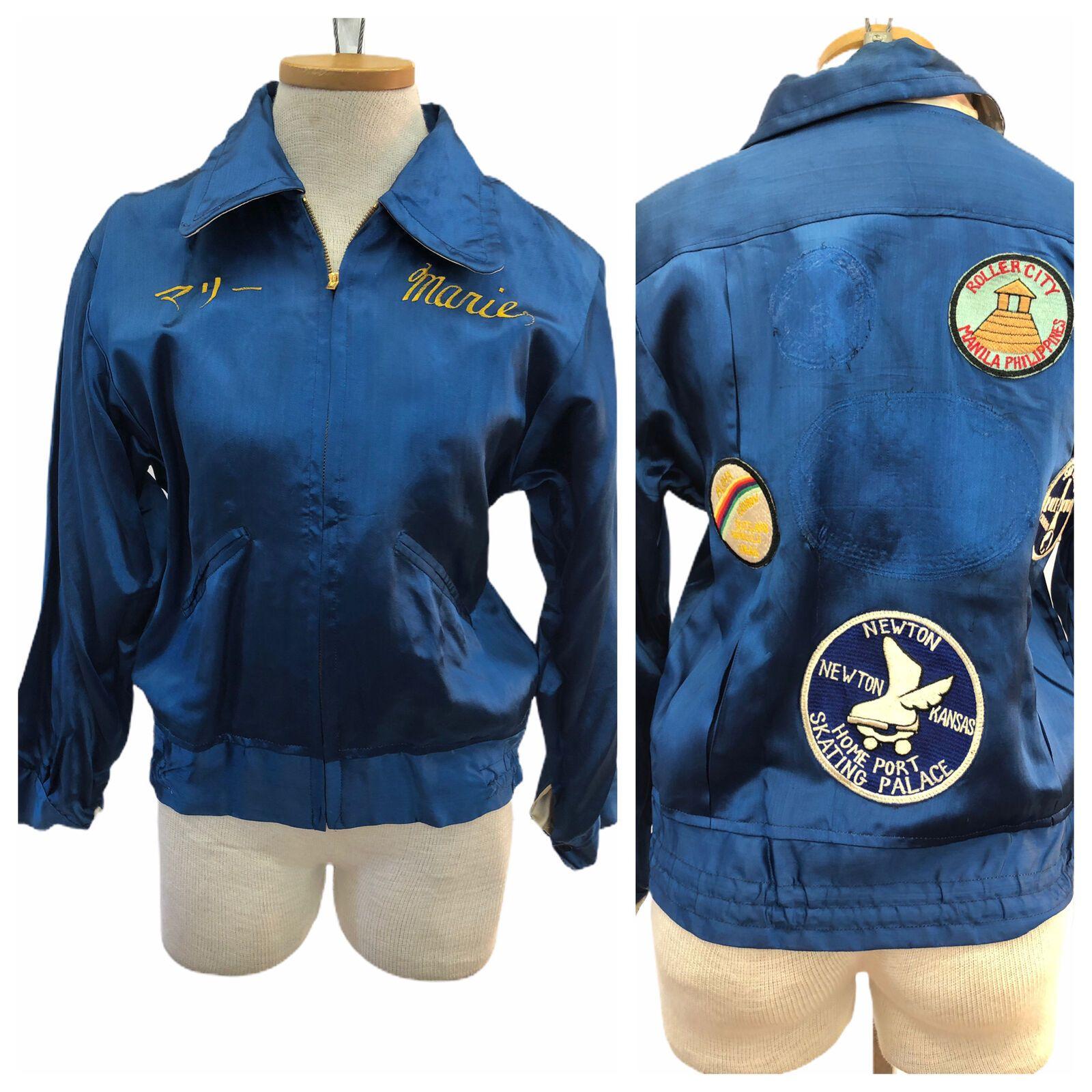 Vintage Vtg 1940s 40s Blue Satin Roller Blade Patched Personalized Bomber Jacket Ebay Bomber Jacket Vintage Bomber Jacket Patches Blue Satin [ 1600 x 1600 Pixel ]