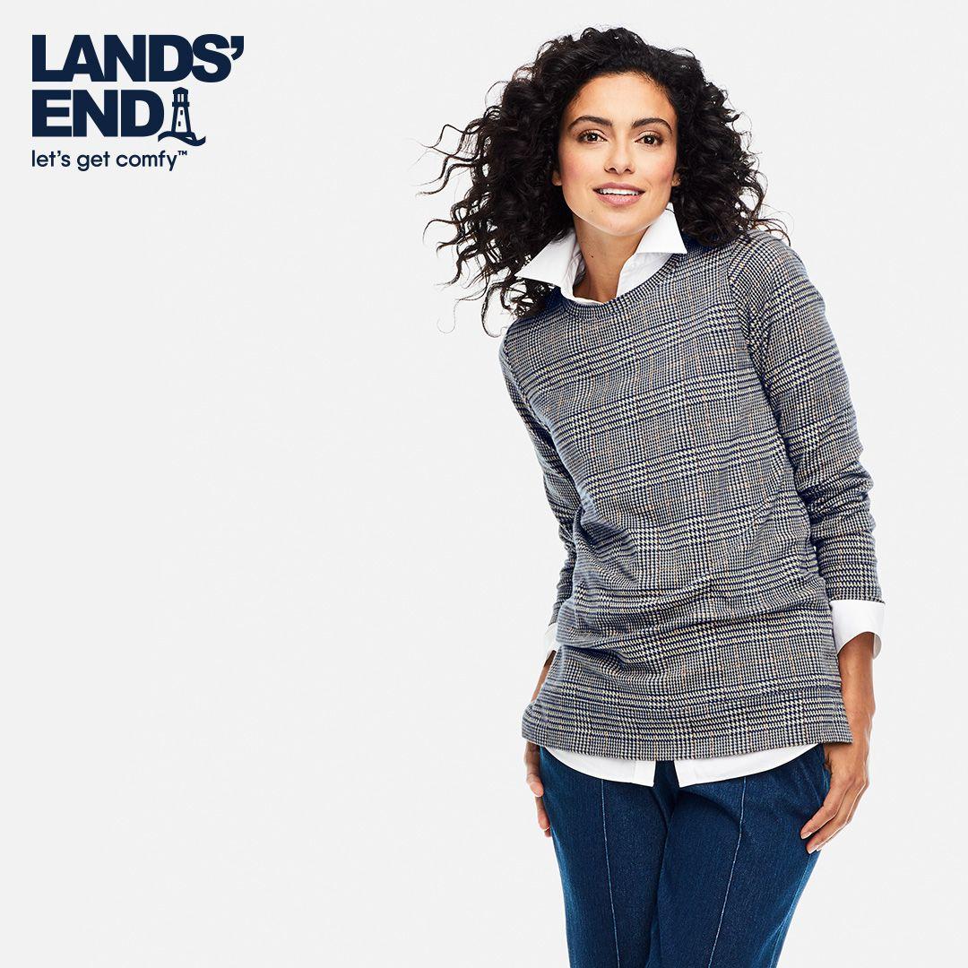 Women S Long Sleeve Sport Knit Jacquard Sweatshirt Tunic Lands End Women Long Sleeve Tunic Sweatshirt Women [ 1080 x 1080 Pixel ]
