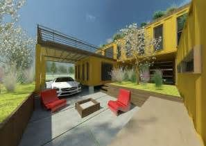 Shipping Container House With Courtyard And Open Garage Design Ideas