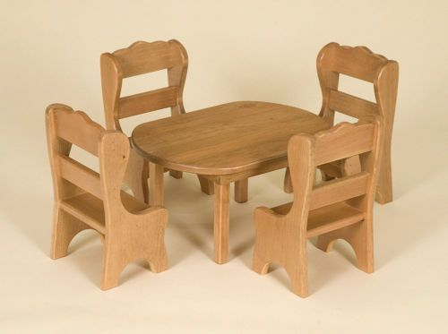 DOLL DINING ROOM SET - TABLE  4 CHAIRS Amish Handmade Fine Wood