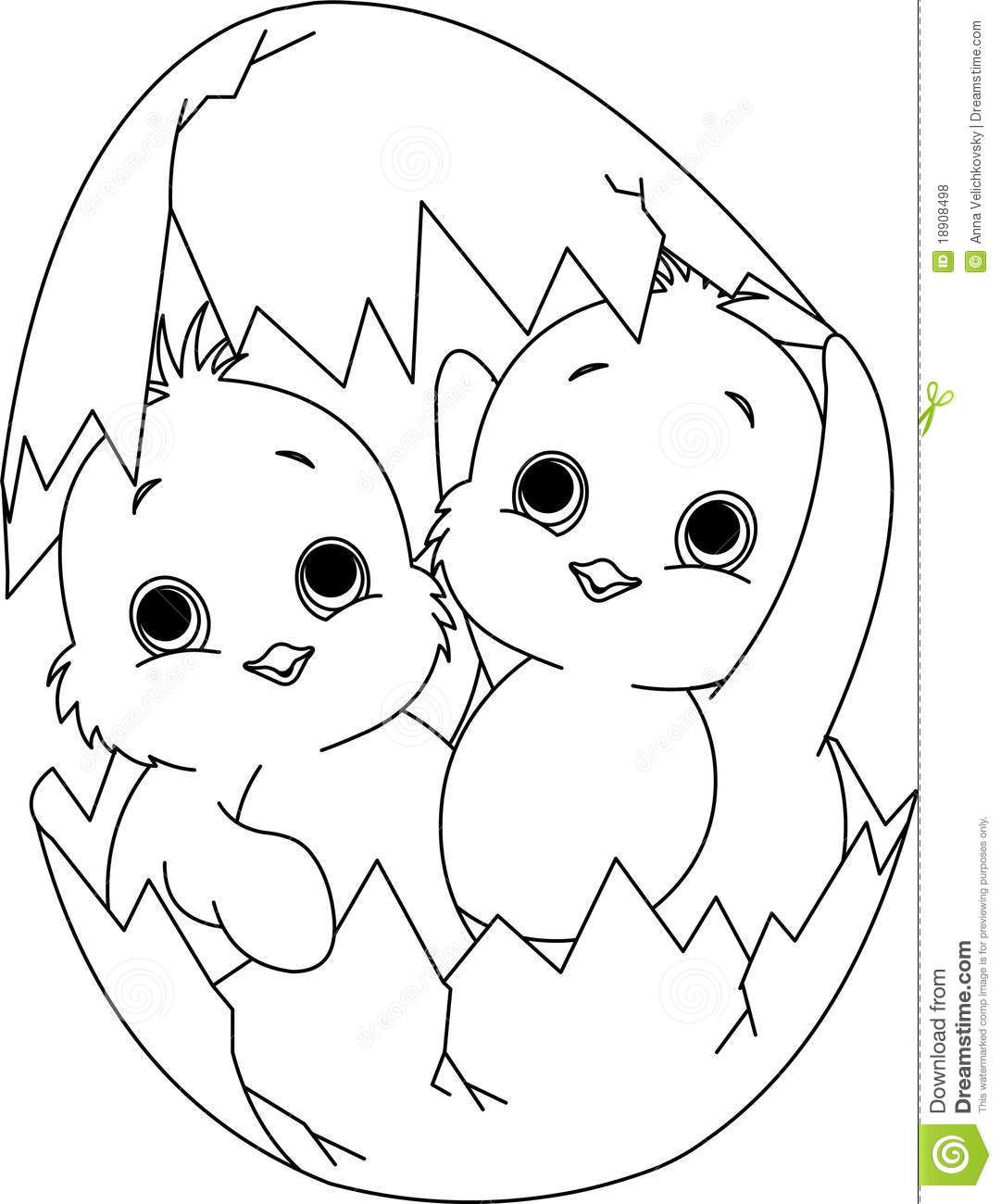 two easter chickens in the egg coloring page download from over 54 million high - Chick Coloring Page