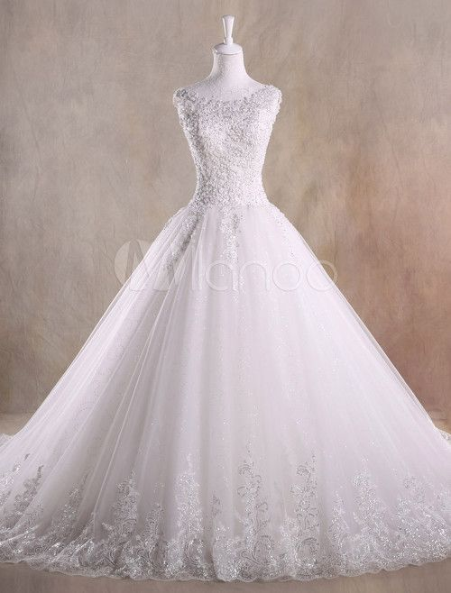 Ivory A-line Jewel Neck Sequin Chapel Train Tulle Wedding Dress ...