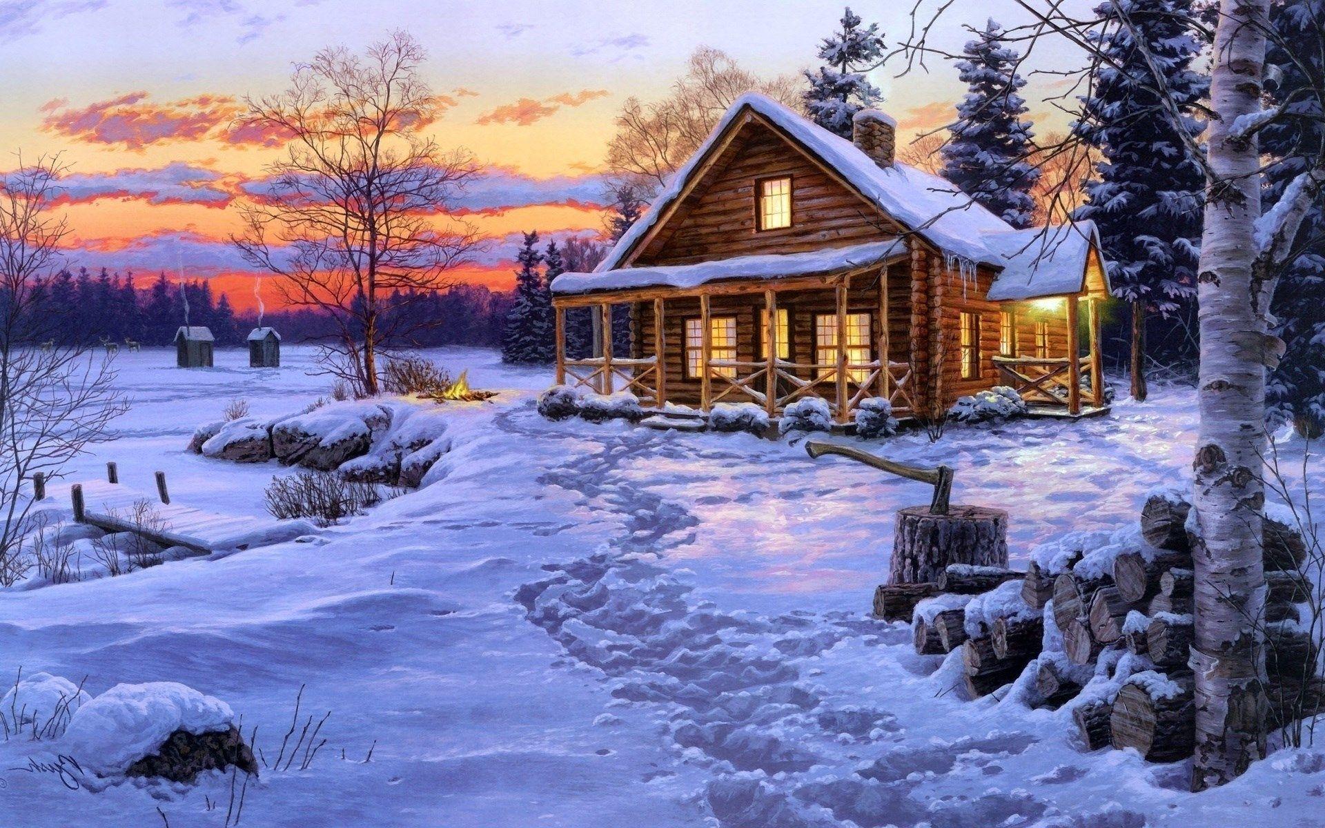 download log cabin wallpaper free 1 Cabane pour hiver
