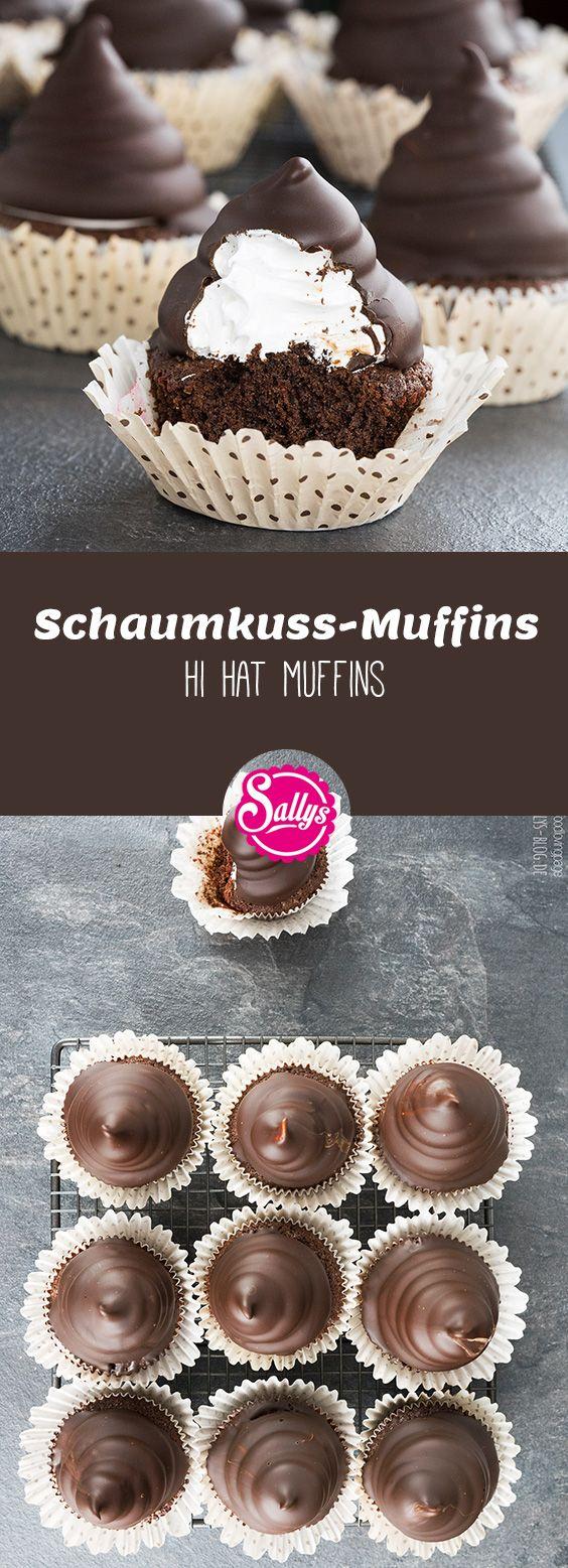 Saftige Schokoladen-Muffins mit Marshmallow-Hut und Schokoladenüberzug. #marshmallows