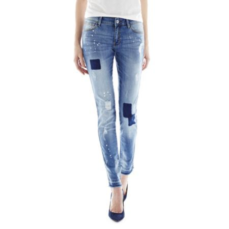 MNG by Mango Destructed Jeans (8433883174667) Worn, ripped, patched and speckled with paint, our skinny-leg, destructed jeans already lookbroken in. zip fly with button closure 5-pocket styling unhemmed cuffs cotton/elastane washable imported