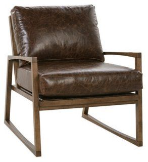 Markus Leather Accent Chair Sienna Bark Brown Leather Chairs Leather Accent Chair Brown Leather Furniture