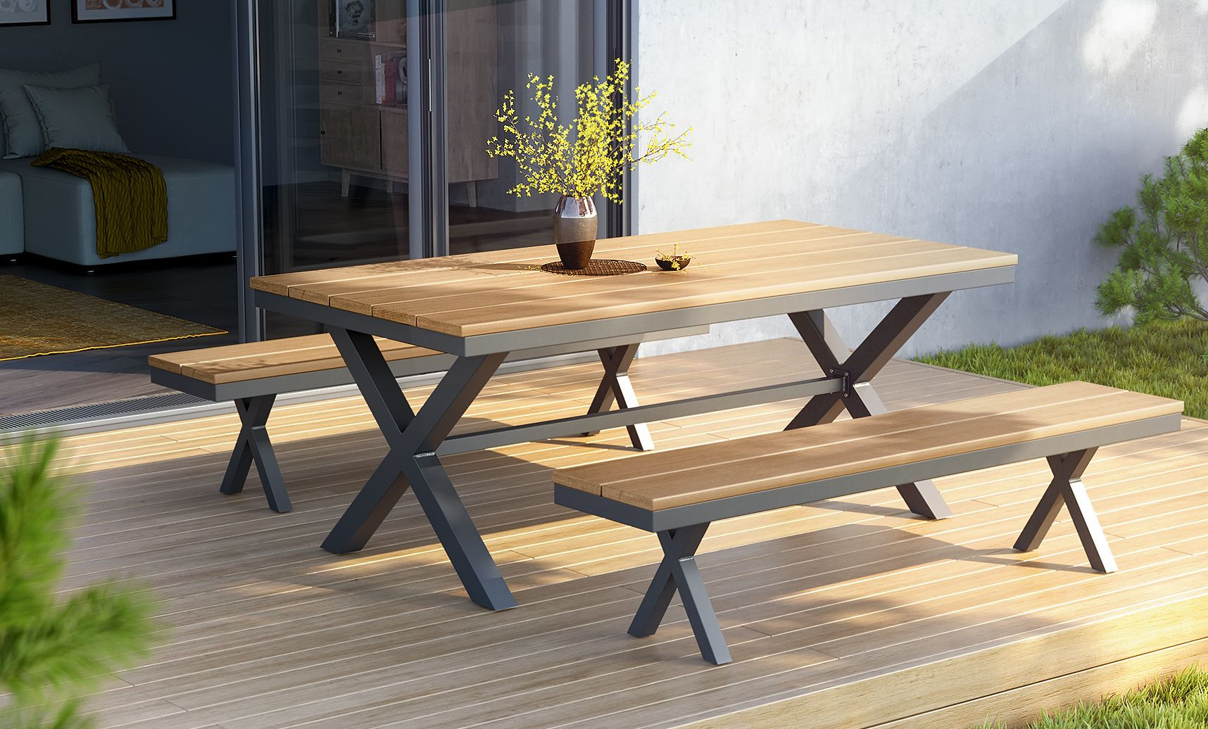Oleta Outdoor Dining Table Bench Set Table And Bench Set