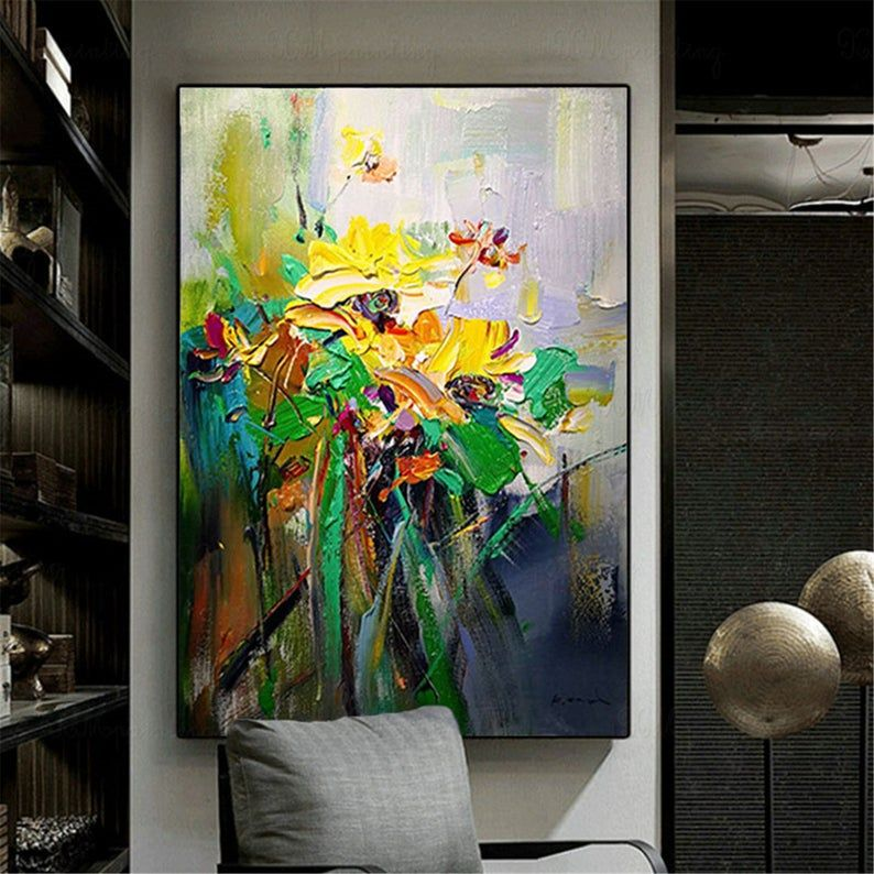 Gold flowers original acrylic abstract painting on canvas
