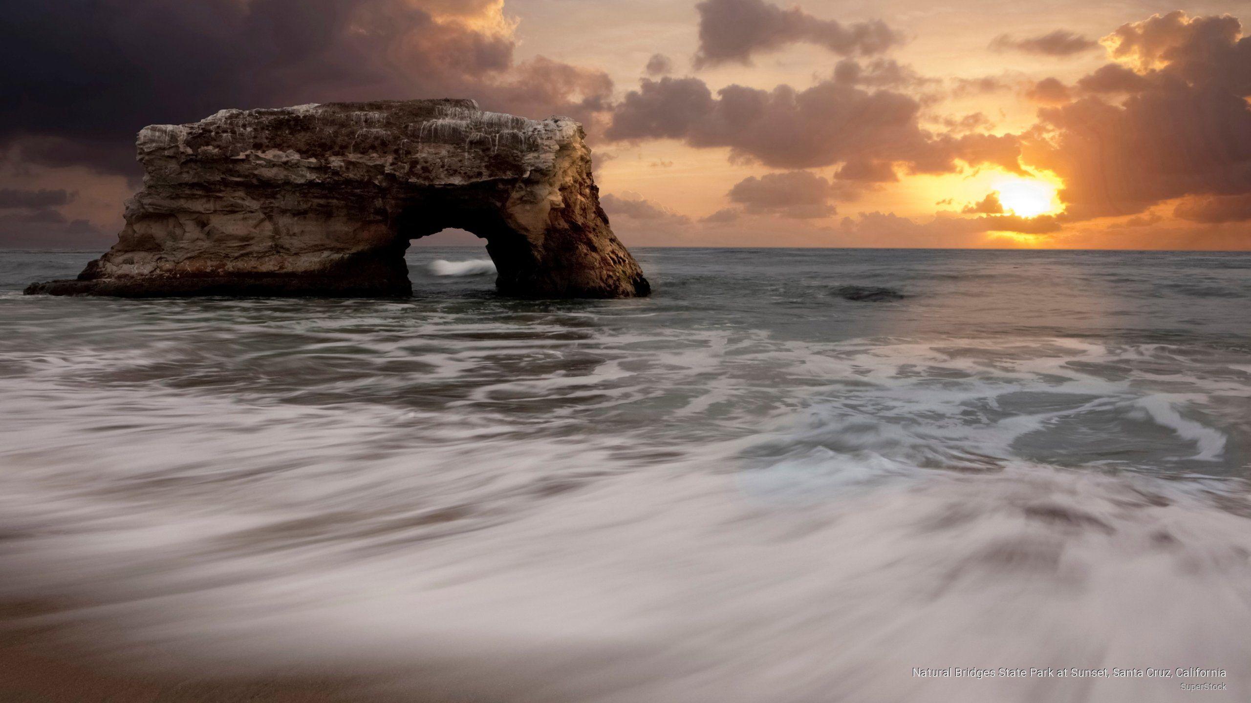 Natural Bridges State Park At Sunset Santa Cruz California Beaches 2k Wallpaper Hdwallpaper Deskto State Parks California Wallpaper California Landscape