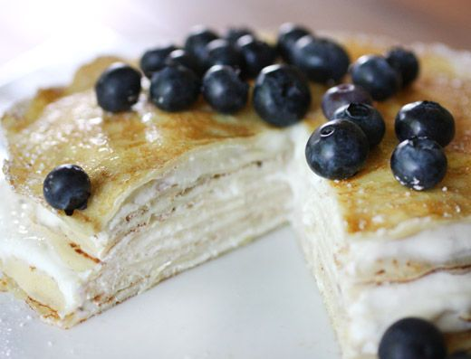 Blueberries and Yogurt with Buttermilk Crepes
