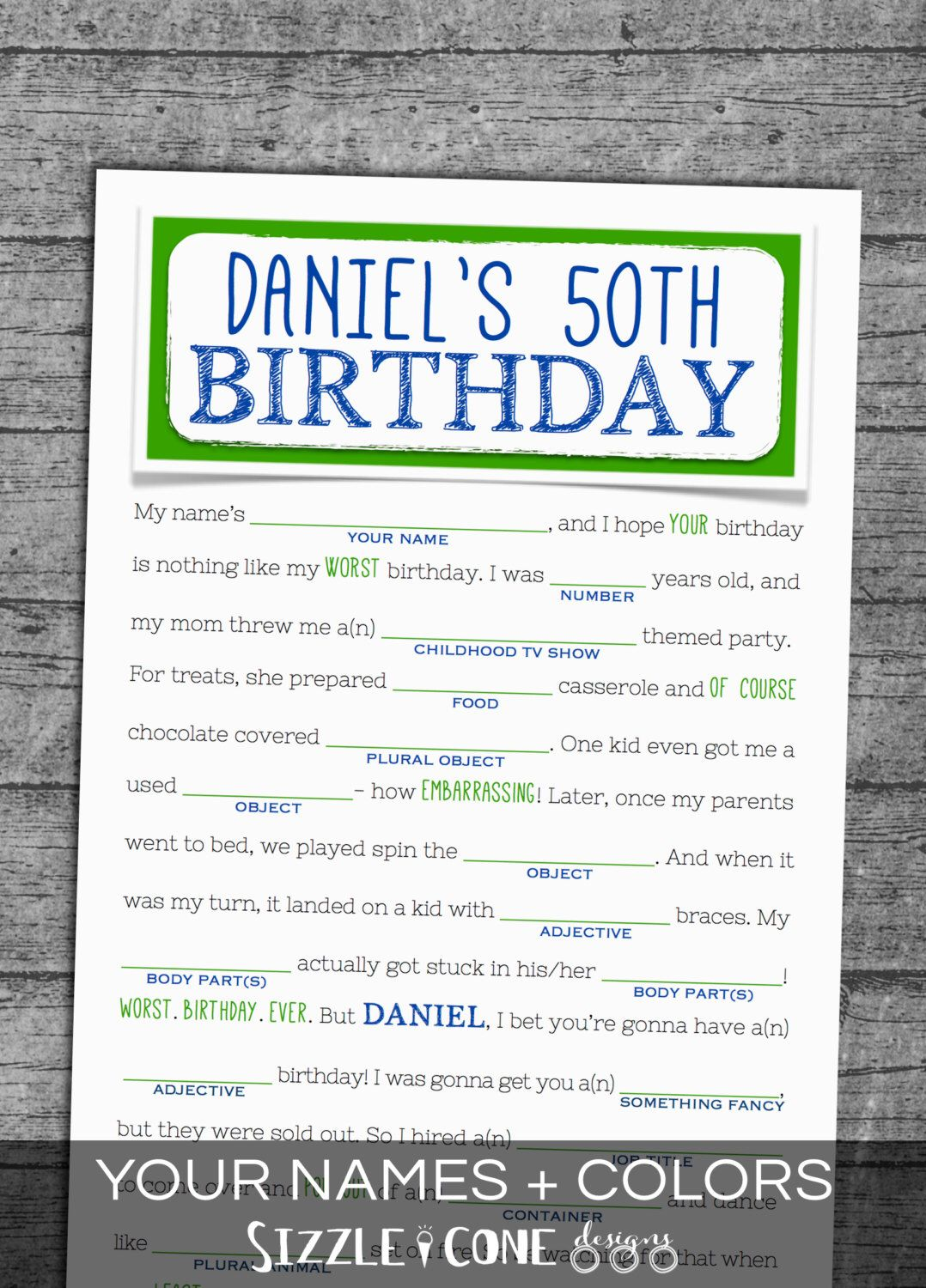 Birthday Mad Lib For Adults - Personalized Party Game