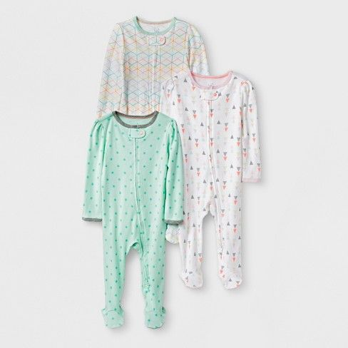 0ea043dd9228e Baby Girls' 3pk Geo Zip Sleep 'N Play - Cloud Island™ Mint/White Newborn :  Target