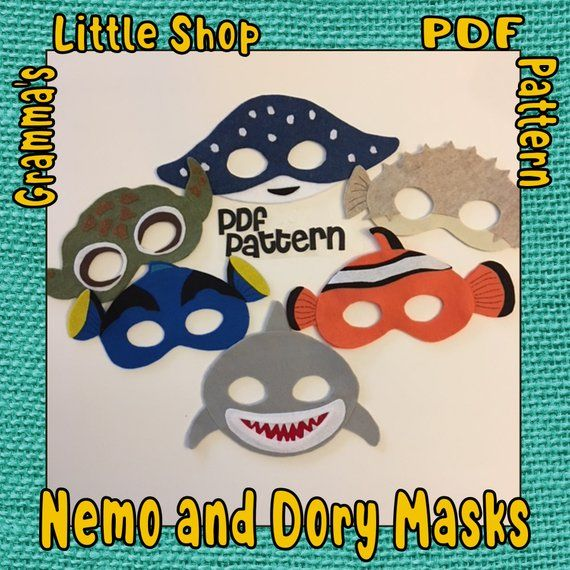 Finding Nemo and Dory Mask Patterns Includes Squirt, Mr Ray, Puffer