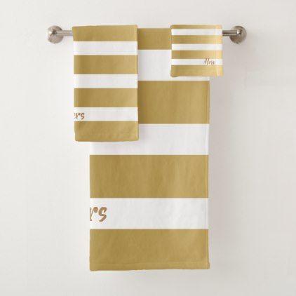 White Gold Stripes Modern Design Bath Towel Set Zazzle Com
