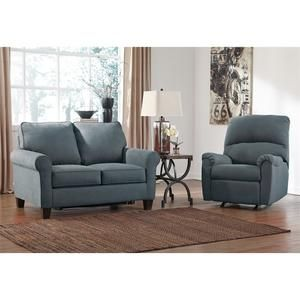Ashley Zeth 2 Piece Fabric Twin Size Sleeper Sofa Set In Denim Sears