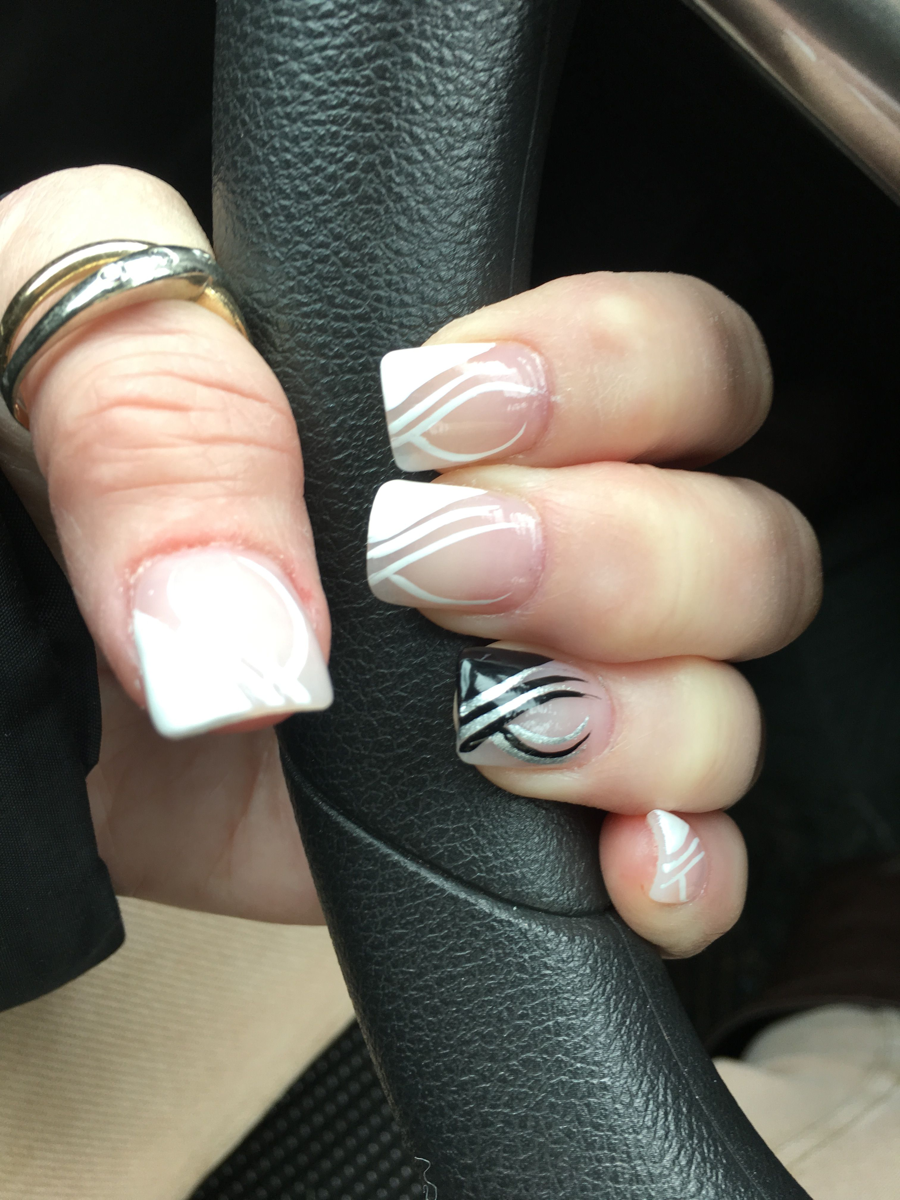 Fancy french with hire and black nail design french nail designs fancy french with hire and black nail design prinsesfo Choice Image