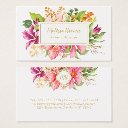 Vintage Flowers Pastel Event Planner Business Card